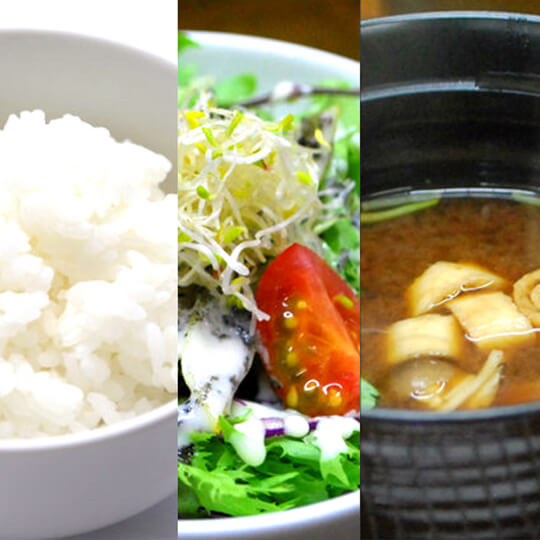 Rice of organic cultivated rice produced by Hyogo prefecture, salad of Hyogo prefecture vegetables, chef's daily soup